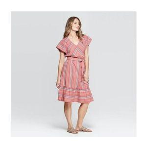 Universal Thread Striped V-Neck Midi Dress